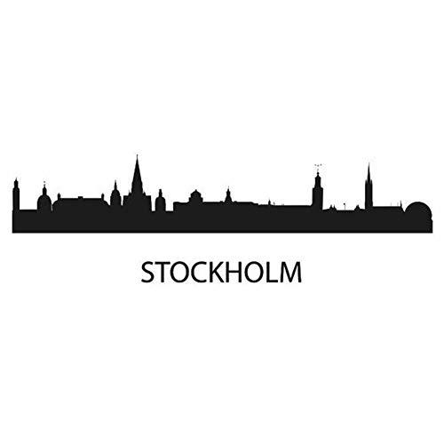 Wandaufkleber Kinderzimmer wandaufkleber 3d Stockholm City Decal Wahrzeichen Skyline Sketch Decals Poster Home Decor Aufkleber für Schlafzimmer