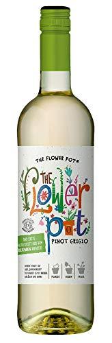 The Flower Pot Pinot Grigio Terre Siciliane IGP – Trockener Bio-Weißwein – Etikett aus Samenpapier zum Pflanzen bunter Blumen – 1 x 0.75l