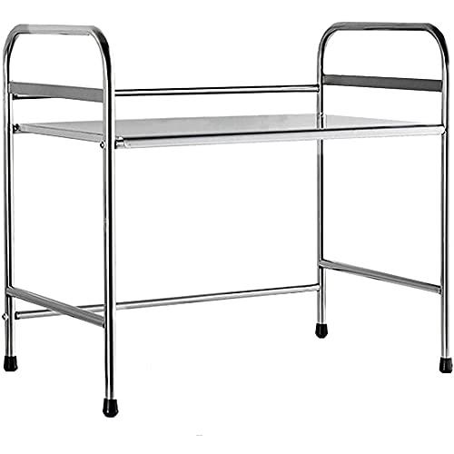 Estante de horno de microondas de acero inoxidable, estante vertical de cocina, bastidor de tarro de especias, fácil de limpiar con la almohadilla de los pies, con bastidor de herramientas,Silver-53CM