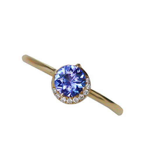WanBeauty Anillo de dedo elegante para mujer de corte redondo con incrustaciones de zafiros de imitación incrustados de joyería de boda anillos de regalo para mujeres y niñas amarillo dorado US 10
