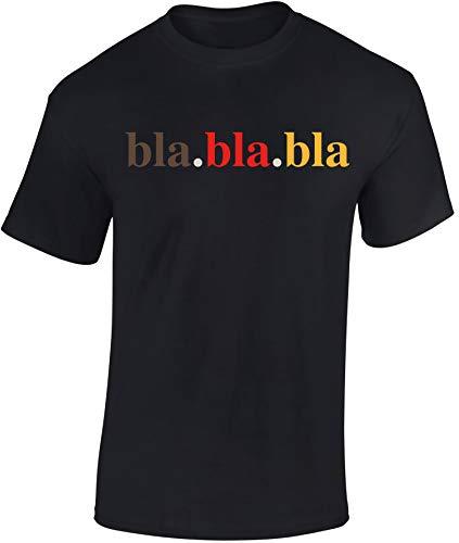 T-Shirt: BlaBlaBla - Shirt Herren Damen - Mann Männer Frau-en - Geschenk für Fussball - Deutschland BRD Schwarz Rot Gold Fahne WM EM - Bla Lustig Fun JGA Bier - Streetwear (XXL)