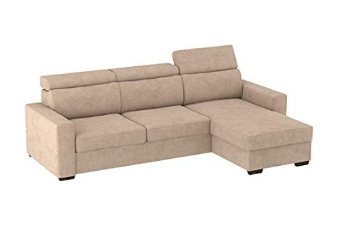 Divano con Chaise Longue Contenitore e letto estraibile Tirana, 230x83x82cm (LxPxA), chaise longue di 154cm. (Tessuto 11 - Colore 1)