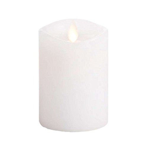Luminara Flameless Candle: 360 Degree Top, Unscented Moving Flame Candle with Timer (4' White)