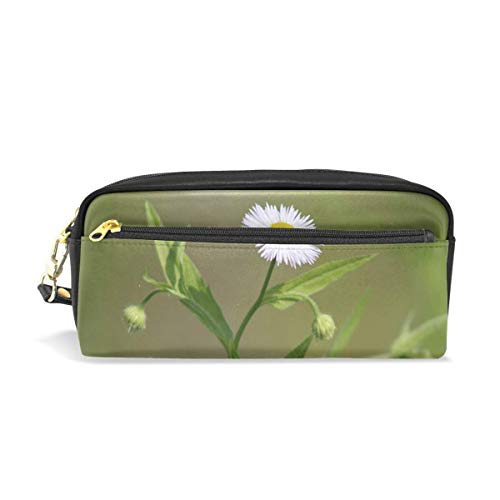 Lawenp Pencil Case Stylish Print White Petals Blooming Summer Natural Nature Spring Art Pattern Large Capacity Pen Bag Makeup Pouch Durable Students Stationery Two Pockets with Double Zipper