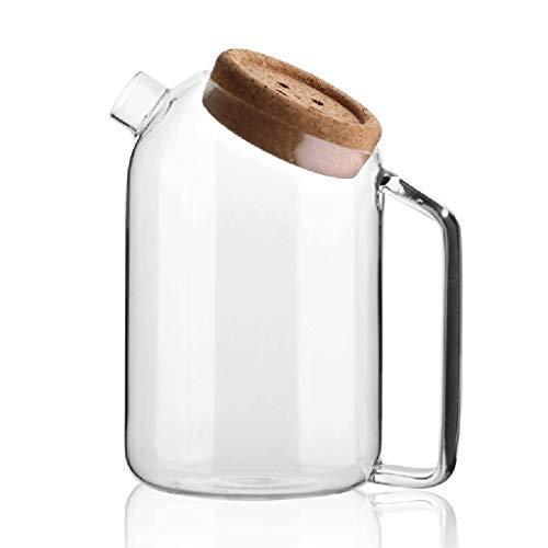 LiPengTaoShop Glaskrug Hoch Borosilicatglas Wasser-Krug Glaskrug Mit Kork Deckel Eistee Krug Wasserkaraffe Mit Griff (Color : Clear, Size : 1200ml)
