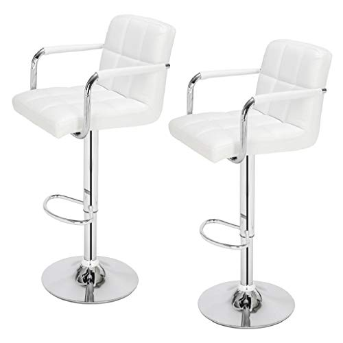 2pcs Cushion No Armrest Bar Stool 60-80cm 6 Checks Round Cushion No Armrest Bar Stool White