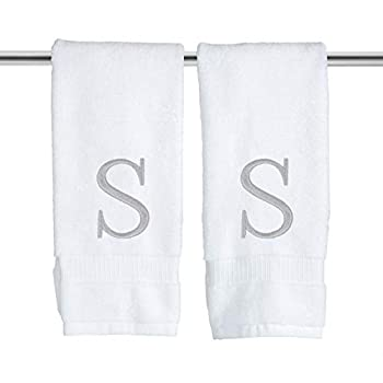 Monogrammed Hand Towels for Bathroom - Luxury Hotel Quality Personalized Initial Decorative Embroidered Bath Towel for Powder Room Spa - GOTS Organic Certified - Set of 2 Letter S