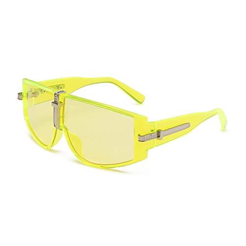 N\P Gafas de sol integradas con personalidad a prueba de viento, montura grande, amarillo océano, gafas de sol femeninas
