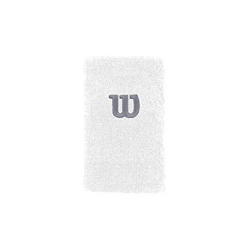 Wilson WRA733516 Polsino da Tennis, Lungo, in Spugna, Bianco/Bianco/Argento