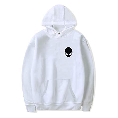 SIMYJOY Area 51 Alien Head Kapuzenpullover Cooles UFO Hoodie Baumwolle Langarm Fashion Sweatshirt für Männer und Frauen weiß L