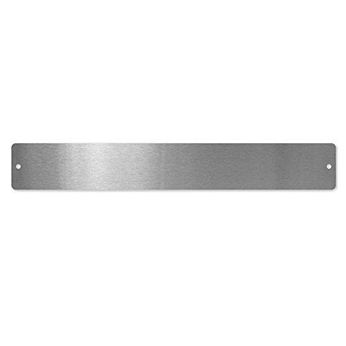 first4magnets™ Kleine rechteckige Magnettafel/Strip c/w 6 Magnete - Edelstahl (350 x 50mm), Metall, Silver, 40 x 20 x 5 cm