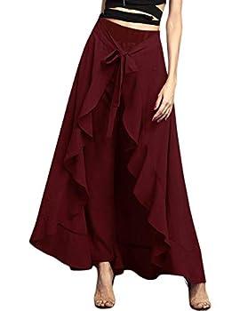 Lrady Women s Ruffle Plain Wide Leg Split Tie-Waist Maxi Long Palazzo Overlay Pant Skirts Wine Red XL