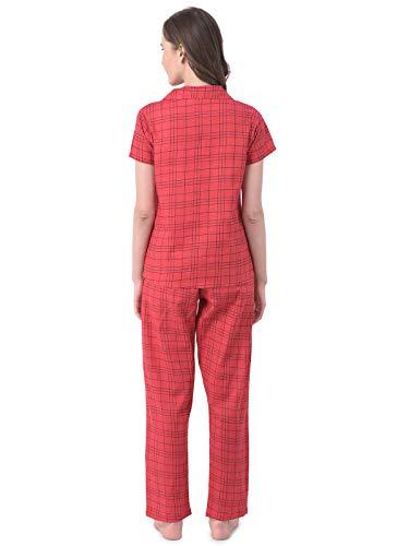 Clovia Women's Cotton Classic Checks Button Me Up Shirt & Pyjama (LS0385A04_Red_L)