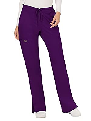 CHEROKEE Women's Mid Rise Moderate Flare Drawstring Pant, Eggplant, X-Large
