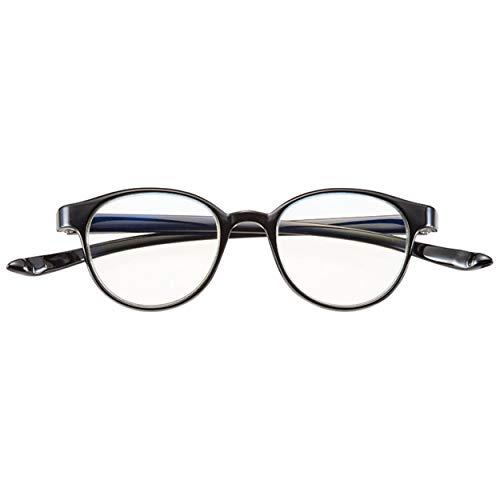 首かけ 老眼鏡 おしゃれ シニアグラス 軽量 リーディンググラス ブルーライトカット 丸型 フレーム ボストン ブラック 度数 +1.50 CACALU (携帯 便利 な ケース付き) 4930-15 [並行輸入品]