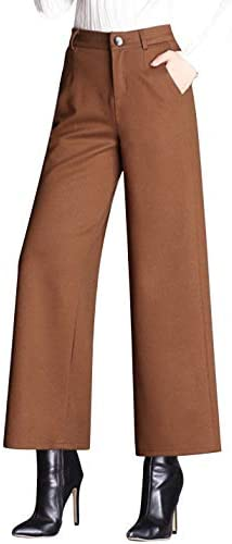 Tanming Women s Casual High Waist Trousers Wool Blend Cropped Wide Leg Pants Small Brown product image