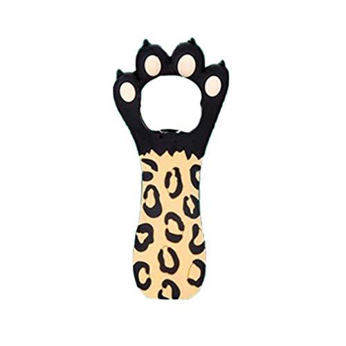 BESTonZON - Abrebotellas Creativo portátil con Forma de Pata de Gato, diseño de Leopardo, Color Negro, Bild 1, 1 Unidad