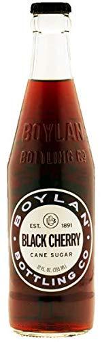 Boylan Bottling Pure Cane Sugar Soda Pop, Black Cherry, 12 oz Glass Bottles (Pack of 12)