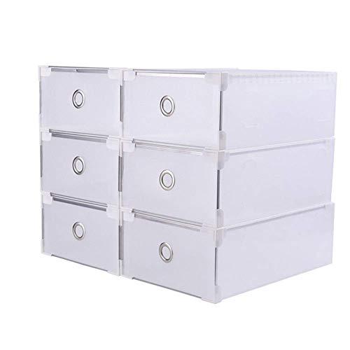 HHORD 6 Cajones de plástico/Caja de Almacenamiento de Zapatos portátil Organizador apilable Transparente Plegable Transparente (Cajón),18x28x10cm
