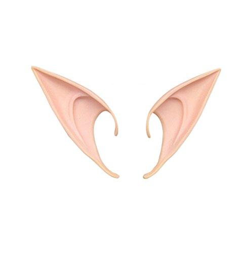 ODN 1paar Elf Ohren Latex Spitzohren für Erwachsene Cosplay Halloween Karneval Fasching (S)
