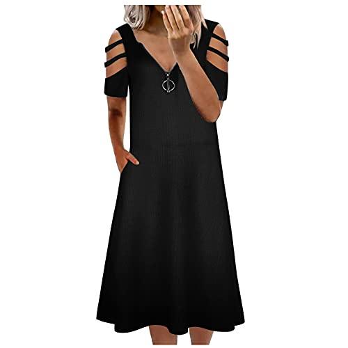 Briskorry Maxi-jurk voor dames, zomerjurk, elegant, lang, V-hals, losse jurk, vrouwen, kleurrijke bloemenprint, ronde hals, mouwloos, dagelijks, grote zak, lange zomerjurk, strandjurk, vrijetijdsjurk