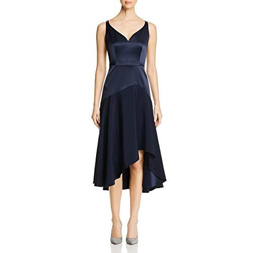 Elie Tahari Womens Susie Sateen Hi-Low Evening Dress Navy 6