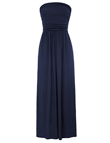 Womens Casual Short Sleeve Long Empire Maxi Tube Dress Size M Navy Blue