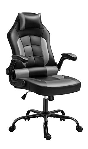 Gaming Chair, Cadcah Ergonomic Computer Chair Reclining High Back Office Chair Height Adjustment Desk Chair with Armrests Headrest and Lumbar Support PC Gaming Chair for Adults Teens Men Women (Grey)