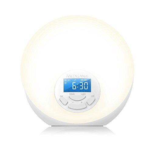 Medisana WL 444 Lichtwecker - Tageslichtwecker mit Snooze-Funktion und FM-Radio - mit 8 verschiedenen Naturklängen und 7 Wellnesslicht-Farben - 45110