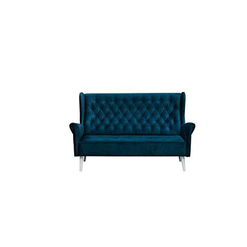 MOEBLO Ohrensofa 3 Sitzer Sofa Couch Garnitur Stoff Samt (Velour) Glamour Wohnlandschaft Chesterfield - Velo (Dunkelblau, 3-Sitzer)