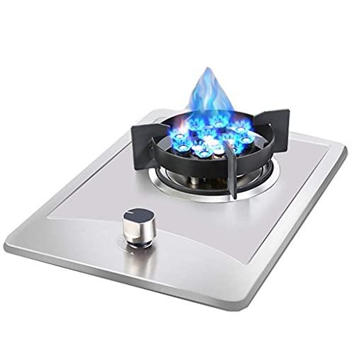 Nueva placa de cocina de gas Placa de cocina de gas de acero inoxidable, placa de cocina portátil, placa de sobremesa / cocina individual empotrada, con protección contra llamas, fácil de limpiar, com