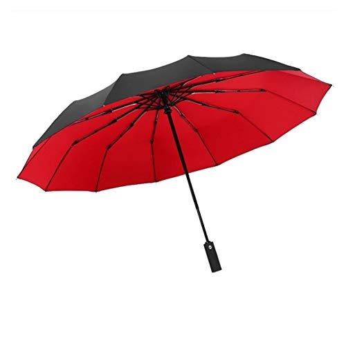 SSBH Espejo de vanidad A Prueba de Viento Doble Plegable Paraguas Hembra Hembra 12 Hueso Coche Lujo Grandes Negocios Paraguas Hombres Lluvia Mujer Regalo Parasol compensación (Color : Yellow)