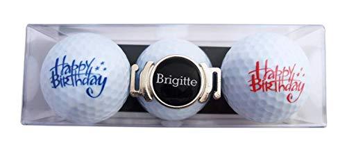 RoLoGOLF Geschenk-Set: 2 Golfbälle mit Happy Birthday - Schriftzügen und Schuh-Clip + Marker mit VORNAMEN, über 1500 Namen sofort erhältlich! Geschenk Idee für alle Golfer!