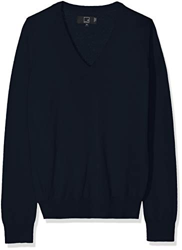 Amazon-Marke: MERAKI Merino Pullover Damen mit V-Ausschnitt, Blau (Navy), 36, Label: S