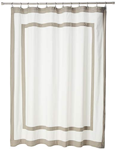 Madison Park Greyson Simple Modern Cotton Fabric Long, Contemporary Solid Shower Curtains for Bathroom, 72 X 72, Grey, 72x72