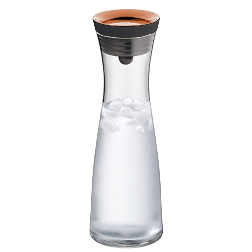 WMF Basic Wasserkaraffe, Glas, Karaffe 1l, Höhe 30,2 cm, Glaskaraffe mit Deckel, Silikondeckel, CloseUp-Verschluss, kupfer
