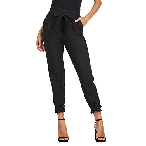 Pantalones de Cigarrillos para Mujeres con Cinturón Elástico Decorado con Un Lazo para La Primavera, Verano, Negro M Cl10903-1