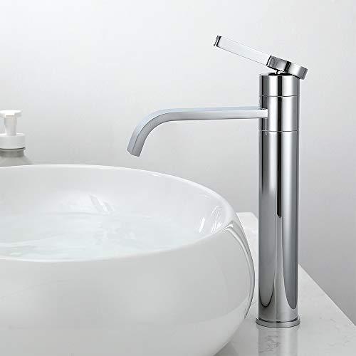 Homelody Grifo de Lavabo Cascada alto Fria y Caliente Disponible Moderno Cuadrado Mezclador Grifo de Lavabo Latón Monomando Adecuado para lavabo sobre encimera
