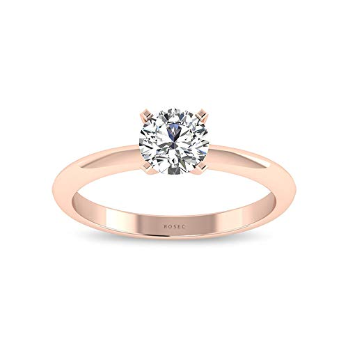 0.34CT Brilliant Cut Round IGI Certified Diamond Solitaire Engagement Ring, Bridal Wedding Anniversary Statement Promise Ring for Her, Mother Day Gift, 14K Rose Gold, Size:US 6.0 (0.34 Ct Emerald Cut Diamond)