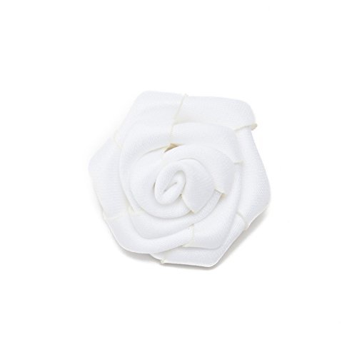 Jacob Alexander Satin Open Rose Lapel Flower Boutonniere - White