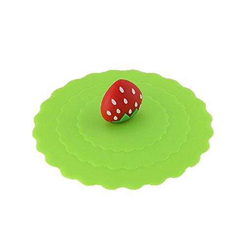 HUVE Tapas de Copa de Silicona, Anti-Polvo Taza de la Cubierta, de categoría alimenticia de Silicona Bebidas Cubiertas de aspiración Tapas (Azul) (Color 3)