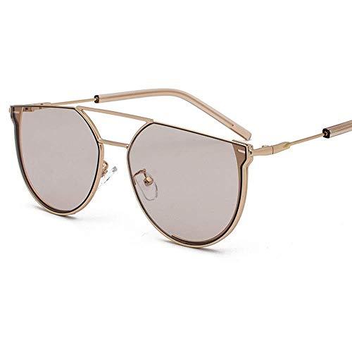 KCGNBQING Gafas de Sol Nueva Personalidad Semi-círculo Gafas de Sol Mujer Moda Metal Retro Hombres UV400 Protección Marco de Oro Gafas de Sol de Moda Hombre/Mujer (Color : Brown)