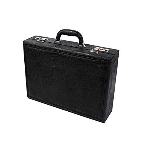ZHANGCHI ハイエンドの新しい21桁の腕時計レザーケース、PUウォッチボックスのパスワードボックスのスーツケース、金属パスワードロック、錆びやすくない (Color : Black)