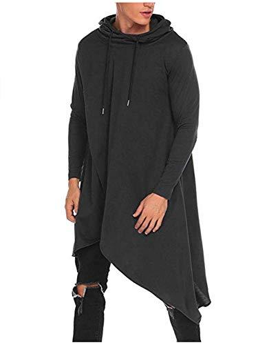 Keepmore Mann-Art- und Weiseunregelmäßiger Rand-Entwurfs-Langer Hoodie-Pullover, beiläufiger mit Kapuze Poncho-Umhang-Mantel