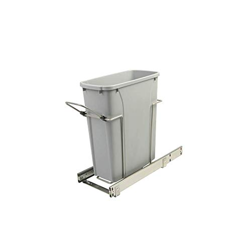 8.375 in. x 20.125 in. x 17.313 in. 20 Qt. In-Cabinet Single Soft-Close Bottom-Mount Pull-Out Trash Can - Platinum