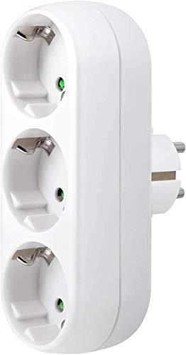 BESPORTBLE Steckdose Adapter Tragbare 3Löcher Steckdose Wandplatte Steckdose Feuerfeste Steckdose für Die Wand Home Office EU-Stecker