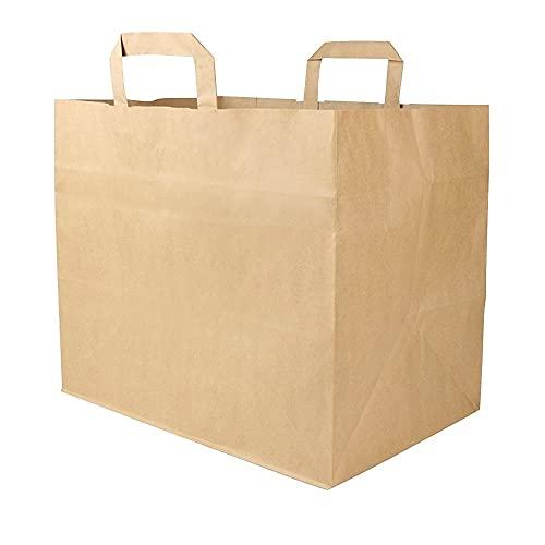 BIOZOYG Papiertragetaschen mit Flachhenkel 80gsm 32x22x27cm I Feste Papier Tüten Kraftpapier Belastbarkeit 5-7 kg I Papierbeutel XXL I Papiertüten mit Blockboden I braune Papiertaschen 250 Stück