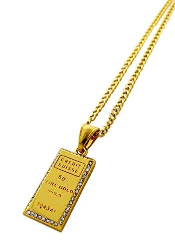 Exo Jewel 18k Gold Plated Stainless Steel Mini Gold Bar Pendant Necklace with 24' Chain