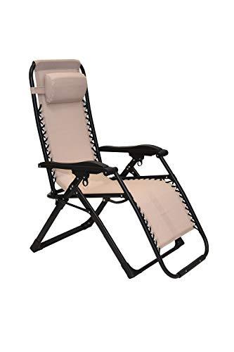 XONE Poltrona Sdraio Colore Ecru reclinabile Pieghevole Paradise con Tubolare Rinforzato (25mm) - Portata Massima 120 kg - Textilene 2x2