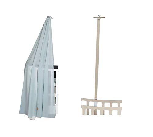 Leander hemelframe whitewash voor leander babybed + hemel (sluier) misty blue